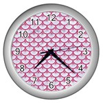SCALES3 WHITE MARBLE & PINK DENIM (R) Wall Clocks (Silver)  Front