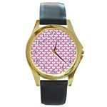 SCALES3 WHITE MARBLE & PINK DENIM (R) Round Gold Metal Watch Front