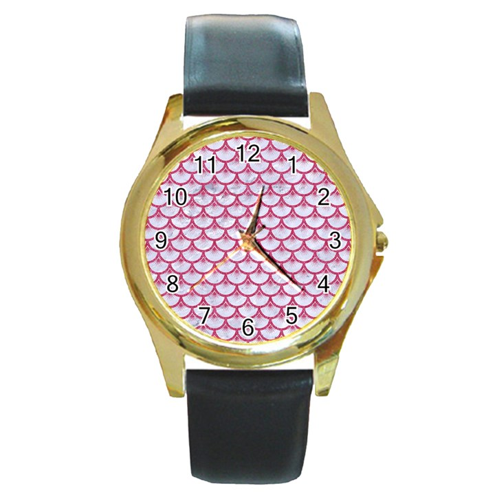 SCALES3 WHITE MARBLE & PINK DENIM (R) Round Gold Metal Watch