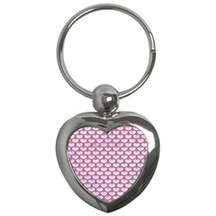 SCALES3 WHITE MARBLE & PINK DENIM (R) Key Chains (Heart)