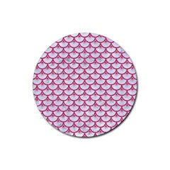 SCALES3 WHITE MARBLE & PINK DENIM (R) Rubber Coaster (Round)