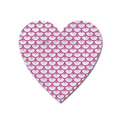 Scales3 White Marble & Pink Denim (r) Heart Magnet