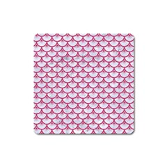 Scales3 White Marble & Pink Denim (r) Square Magnet by trendistuff