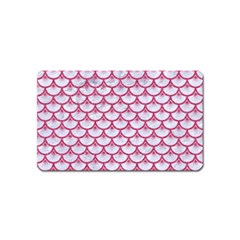 Scales3 White Marble & Pink Denim (r) Magnet (name Card) by trendistuff