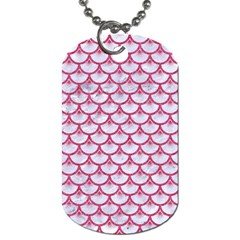 Scales3 White Marble & Pink Denim (r) Dog Tag (one Side)