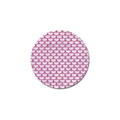 Scales3 White Marble & Pink Denim (r) Golf Ball Marker