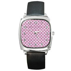 Scales3 White Marble & Pink Denim (r) Square Metal Watch