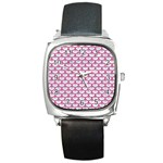 SCALES3 WHITE MARBLE & PINK DENIM (R) Square Metal Watch Front