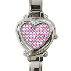 SCALES3 WHITE MARBLE & PINK DENIM (R) Heart Italian Charm Watch