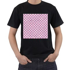 Scales3 White Marble & Pink Denim (r) Men s T Shirt (black) (two Sided) by trendistuff