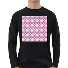 SCALES3 WHITE MARBLE & PINK DENIM (R) Long Sleeve Dark T-Shirts
