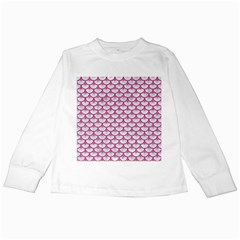 Scales3 White Marble & Pink Denim (r) Kids Long Sleeve T Shirts by trendistuff