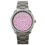 SCALES3 WHITE MARBLE & PINK DENIM (R) Sport Metal Watch Front