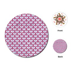 SCALES3 WHITE MARBLE & PINK DENIM (R) Playing Cards (Round)