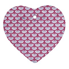 SCALES3 WHITE MARBLE & PINK DENIM (R) Heart Ornament (Two Sides)