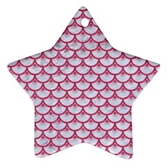 Scales3 White Marble & Pink Denim (r) Star Ornament (two Sides) by trendistuff