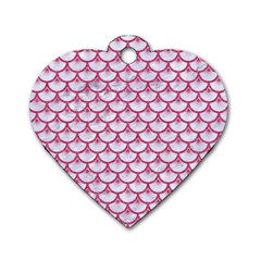 SCALES3 WHITE MARBLE & PINK DENIM (R) Dog Tag Heart (Two Sides)