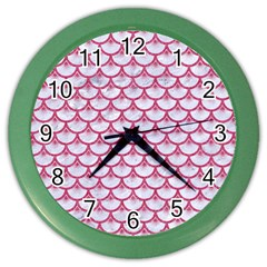 SCALES3 WHITE MARBLE & PINK DENIM (R) Color Wall Clocks