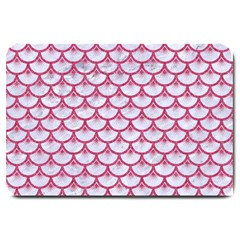 Scales3 White Marble & Pink Denim (r) Large Doormat