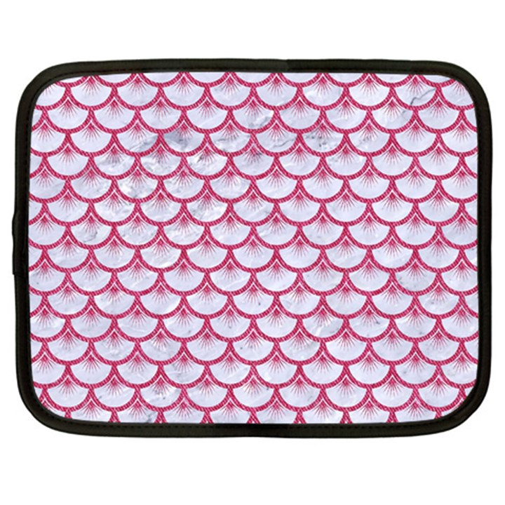 SCALES3 WHITE MARBLE & PINK DENIM (R) Netbook Case (Large)
