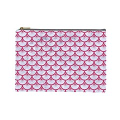 SCALES3 WHITE MARBLE & PINK DENIM (R) Cosmetic Bag (Large)