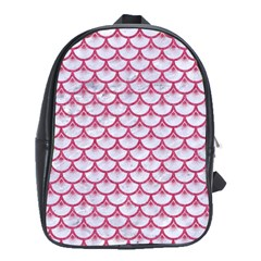 Scales3 White Marble & Pink Denim (r) School Bag (large)