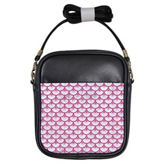 SCALES3 WHITE MARBLE & PINK DENIM (R) Girls Sling Bags