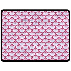 SCALES3 WHITE MARBLE & PINK DENIM (R) Fleece Blanket (Large)