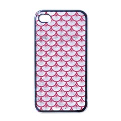 SCALES3 WHITE MARBLE & PINK DENIM (R) Apple iPhone 4 Case (Black)