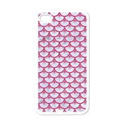 Scales3 White Marble & Pink Denim (r) Apple Iphone 4 Case (white)