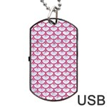 SCALES3 WHITE MARBLE & PINK DENIM (R) Dog Tag USB Flash (One Side) Front