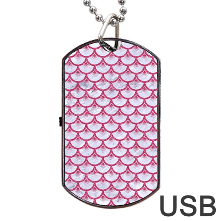 SCALES3 WHITE MARBLE & PINK DENIM (R) Dog Tag USB Flash (One Side)