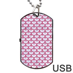 SCALES3 WHITE MARBLE & PINK DENIM (R) Dog Tag USB Flash (Two Sides)
