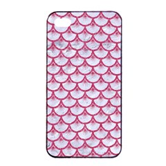 SCALES3 WHITE MARBLE & PINK DENIM (R) Apple iPhone 4/4s Seamless Case (Black)