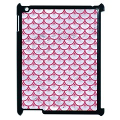 SCALES3 WHITE MARBLE & PINK DENIM (R) Apple iPad 2 Case (Black)