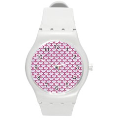 Scales3 White Marble & Pink Denim (r) Round Plastic Sport Watch (m) by trendistuff