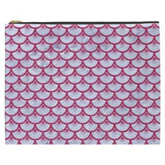 Scales3 White Marble & Pink Denim (r) Cosmetic Bag (xxxl)  by trendistuff