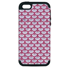 Scales3 White Marble & Pink Denim (r) Apple Iphone 5 Hardshell Case (pc+silicone) by trendistuff