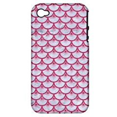 SCALES3 WHITE MARBLE & PINK DENIM (R) Apple iPhone 4/4S Hardshell Case (PC+Silicone)