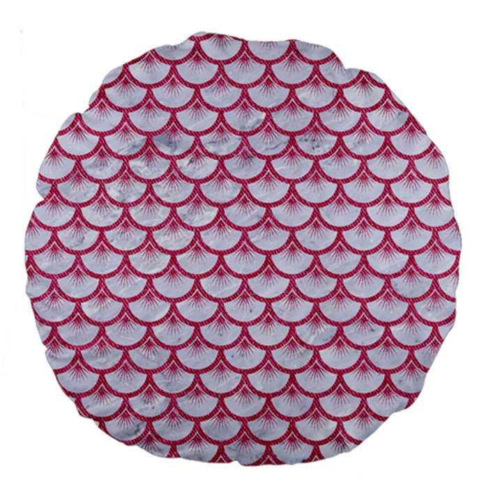 SCALES3 WHITE MARBLE & PINK DENIM (R) Large 18  Premium Round Cushions