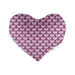 SCALES3 WHITE MARBLE & PINK DENIM (R) Standard 16  Premium Heart Shape Cushions Front