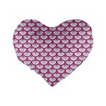 SCALES3 WHITE MARBLE & PINK DENIM (R) Standard 16  Premium Heart Shape Cushions Back