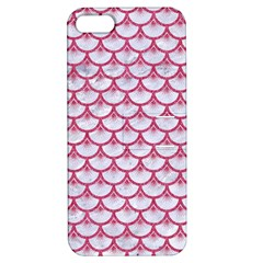 Scales3 White Marble & Pink Denim (r) Apple Iphone 5 Hardshell Case With Stand