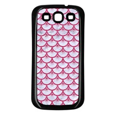 SCALES3 WHITE MARBLE & PINK DENIM (R) Samsung Galaxy S3 Back Case (Black)