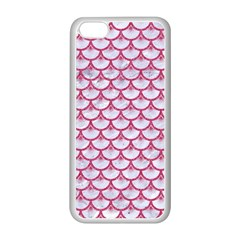 SCALES3 WHITE MARBLE & PINK DENIM (R) Apple iPhone 5C Seamless Case (White)