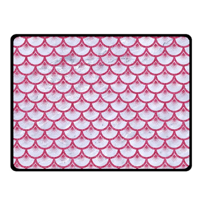 SCALES3 WHITE MARBLE & PINK DENIM (R) Double Sided Fleece Blanket (Small)