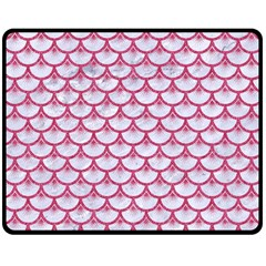 SCALES3 WHITE MARBLE & PINK DENIM (R) Double Sided Fleece Blanket (Medium)