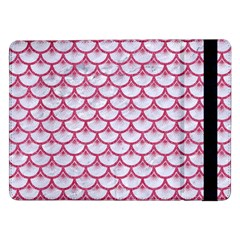 Scales3 White Marble & Pink Denim (r) Samsung Galaxy Tab Pro 12 2  Flip Case by trendistuff