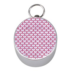 Scales3 White Marble & Pink Denim (r) Mini Silver Compasses