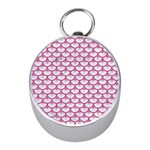 SCALES3 WHITE MARBLE & PINK DENIM (R) Mini Silver Compasses Front